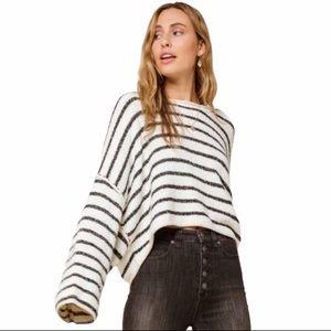Free People   Bardot Black & White Striped Sweater